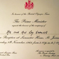 Invitation from the Prime Minister. Image courtesy Janet Roberts.