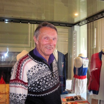 Roy Cromack near his display case at the 'Our Sporting Heroes' exhibition, Cusworth Hall, 2012