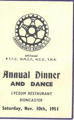 Brodsworth Racing C.C. Annual Dinner and Dance 1951