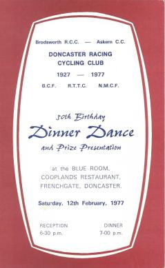 Doncaster Racing Cycling Cllub Dinner Dance 1977