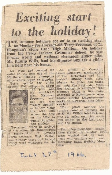 Exciting start to the holiday! Newspaper clipping from 27th July 1964