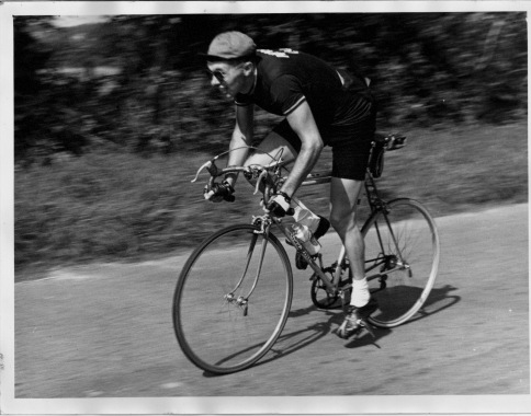 Riding the Wessex 24 hour National Championships in the Army Cycling Union colours whilst on National Service in 1958 and breaking the Army 24 hr record.