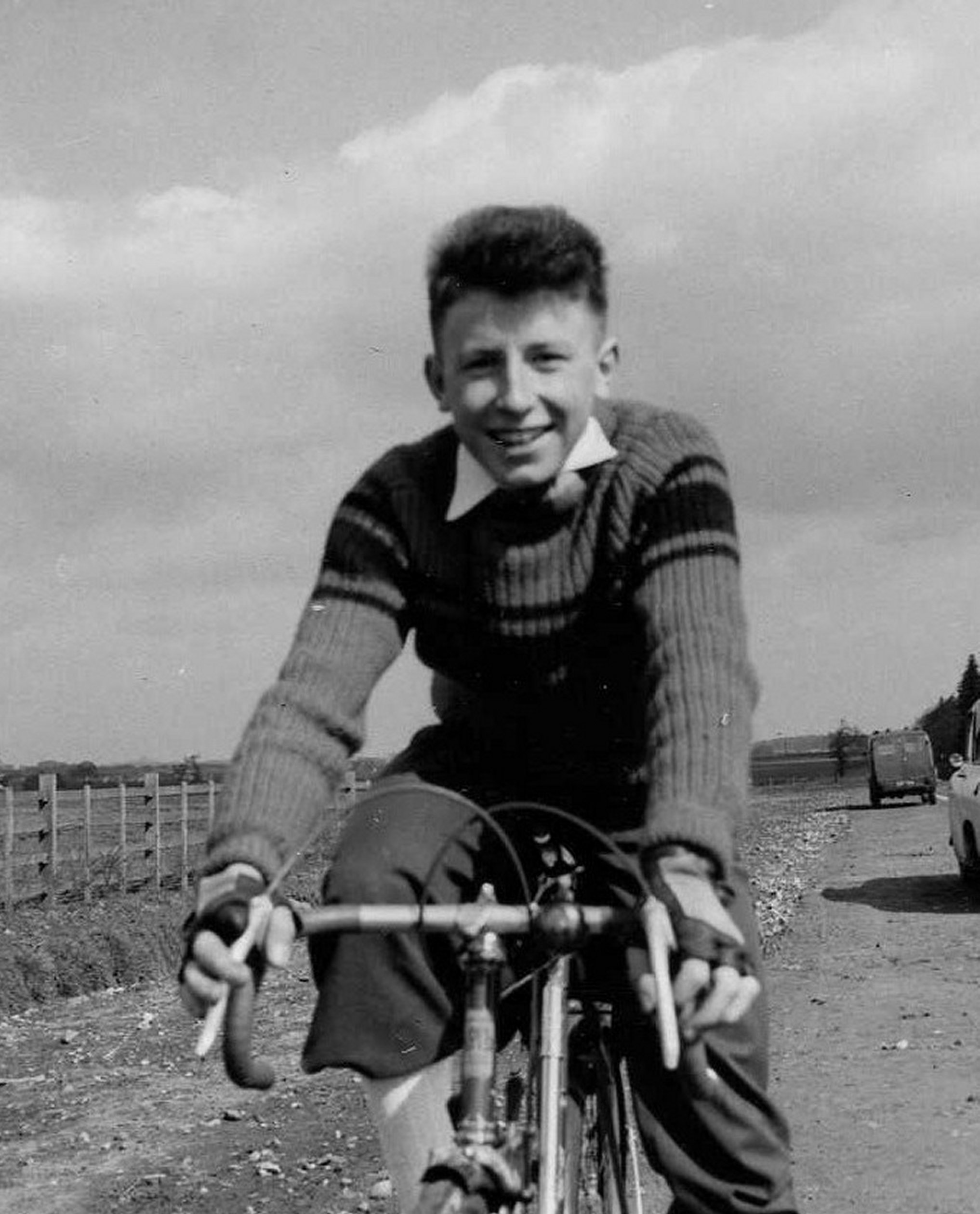 Graham Snowdon pictured after a local early morning time trial near Blyth, and about the join the day's club run perhaps to somewhere like Newark, in around 1958.