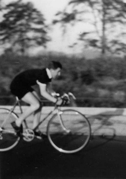 Graham Snowdon in action in a 25-mile time trial on the A1 near Ranby in around 1959.