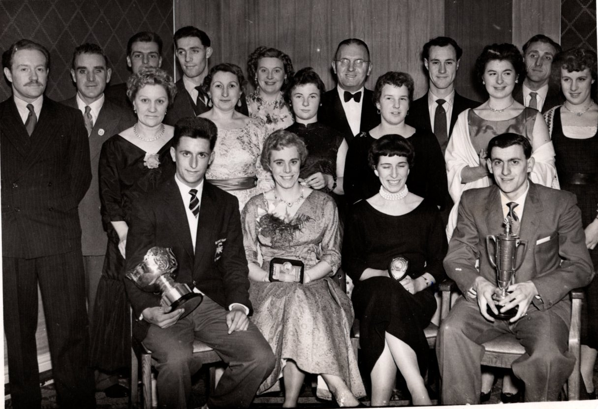 Tom Simpson, the future world road race champion (front row, left) pictured at Doncaster Wheelers' annual dinner in 1958 wearing his England team blazer after taking silver in the Commonwealth Games pursuit event. Dick Snowdon, the Wheelers' chairman, is right of centre in the back row and his wife Edna second left in the middle row.