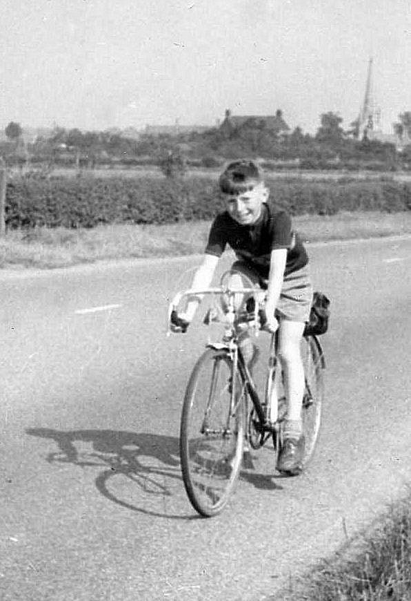 Me and my shadow. Graham Snowdon enjoys a carefree – and seemingly car-free – ride on the Great North Road near Scrooby in around 1953, when he was nine.