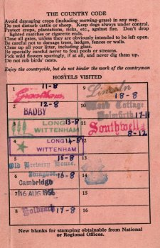 Graham Snowdon's 1956 Youth Hostels Association membership card, stamped with the names of the hostels he visited as a 12-year-old.